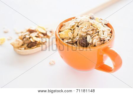 Closeup Muesli On Clean White Background