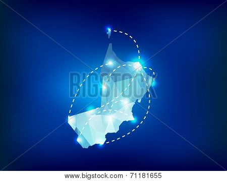 Oman Country Map Polygonal With Spot Lights Places