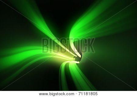 Digitally generated Green vortex with bright light