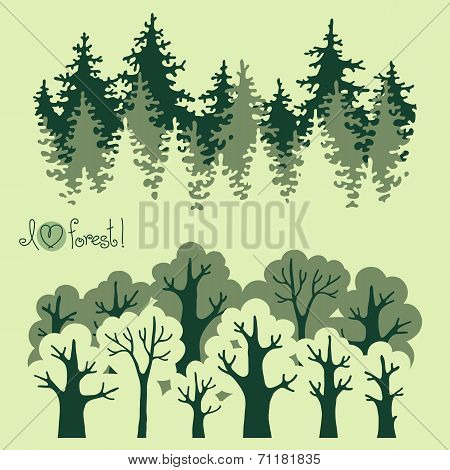 Abstract banners of green deciduous  forest and coniferous forest.