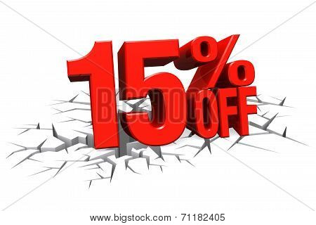3D Render Red Text 15 Percent Off On White Crack Hole Floor.