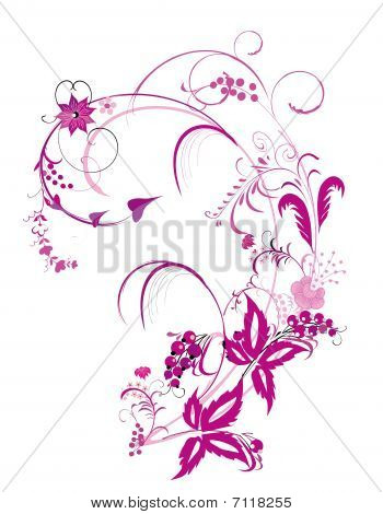 Purple Flower  And Vines Pattern
