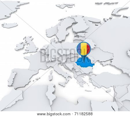 Romania On A Map Of Europe