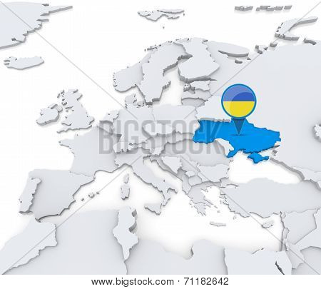Ukraine On A Map Of Europe
