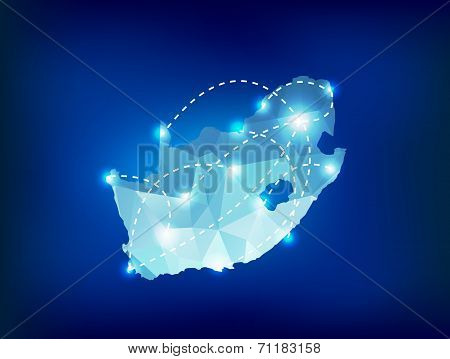 South Africa Country Map Polygonal With Spot Lights Places