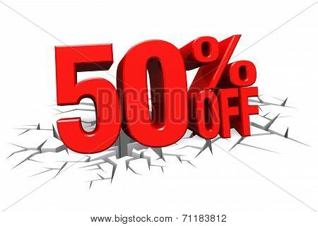 3D Render Red Text 50 Percent Off On White Crack Hole Floor.