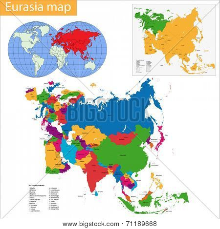 map of Eurasia drawn with high detail and accuracy. Eurasia is divided into countries which are colored with different bright colors