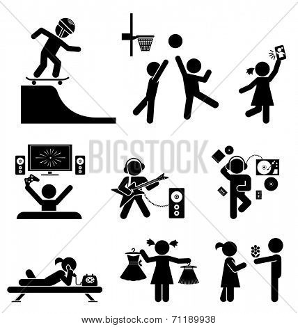 Pictograms of teenagers having fun. Vector set of flat icons.