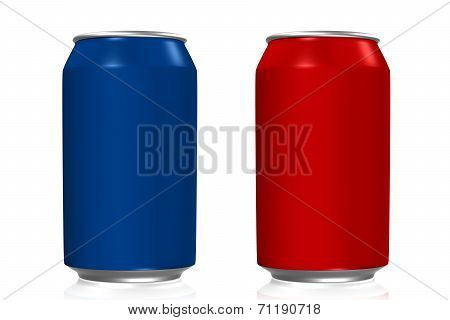 Blue And Red Soda Cans