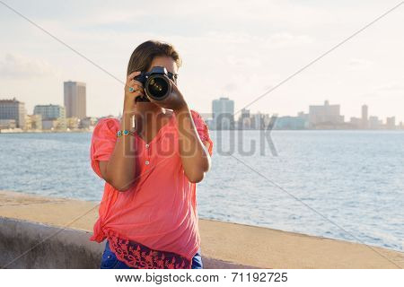 Woman Photographer Camera Tourist Picture Photo