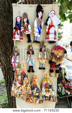 Stuffed Souvenir Dolls At Flea Market In Chisinau, Moldova. At The Flea Market One Can Find Second H