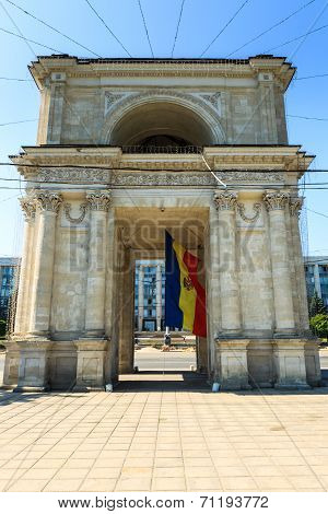 Victory Arch In National Assembly Square, Chisinau, Moldova. The Triumphal Arch Was Built In 1841 An