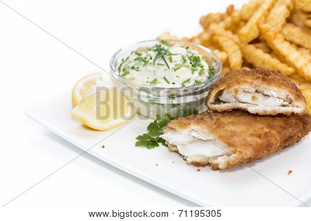 Salmon Fillet With Chips On White