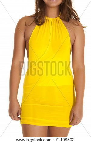 Close Up Woman Yellow Dress