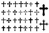 stock photo of church  - Religion Cross christianity symbols set isolated on white background for Religious - JPG