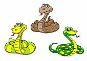 stock photo of jungle snake  - Cartoon cute funny snake characters set with python boa rattlesnake - JPG