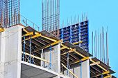 image of formwork  - Concrete formwork and floor beams on construction site - JPG
