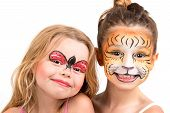 picture of tigers  - Beautiful young girls with painted faces tiger and ladybug - JPG