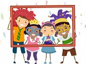 stock photo of hollow  - Illustration Featuring a Group of Kids Wearing Party Costumes Holding a Hollow Frame - JPG