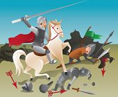 stock photo of jousting  - Knight with lance on horseback  - JPG