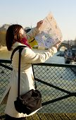 Tourist With Map Getting Lost In Paris