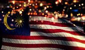 stock photo of malaysia  - Malaysia National Flag Light Night Bokeh Abstract Background - JPG