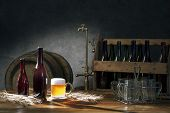 picture of keg  - beer still life on the table with old keg of beer and tap - JPG