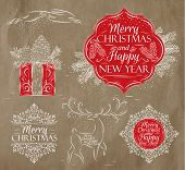 picture of rabbit year  - Merry Christmas and New Year collection graphics in elegant vintage style - JPG