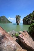 stock photo of james bond island  - View of the James Bond Island Thailand tropical landscape - JPG
