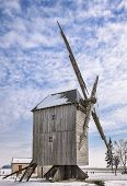 picture of windmills  - Traditional wooden windmill in the Eure - JPG