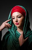 stock photo of niqab  - Portrait of the young woman with headscarf - JPG