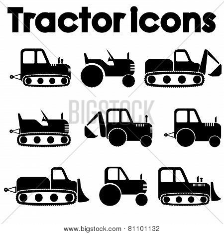 Cut Out Black Various Tractor And Construction Machinery Icon Set Isolated On White Background