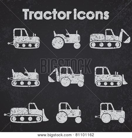 Various Tractor And Construction Machinery Icon Set Blackboard Stylized