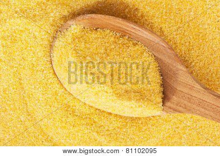 Polenta on a wooden spoon