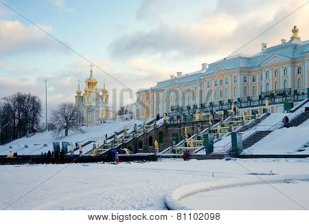 Peterhof Grand Palace (1715-1755) And Grand Cascade (1721-1721) In Winter, Russia