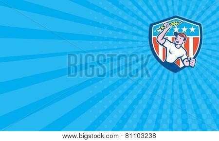 Business Card Electrician Lightning Bolt Usa Flag Cartoon