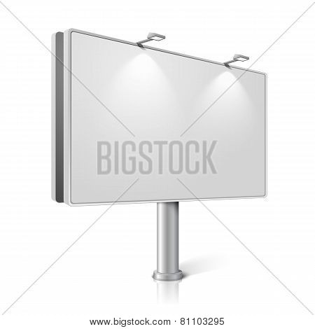 Vector city billboard with lamps, isolated on white background.