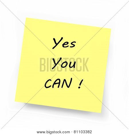 Yellow Sticky Note - Yes You Can