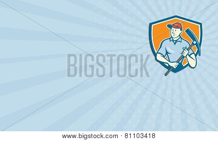 Business Card Construction Worker Holding Pickaxe Shield Cartoon