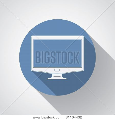 Widescreen Monitor Flat Icon With Long Shadow