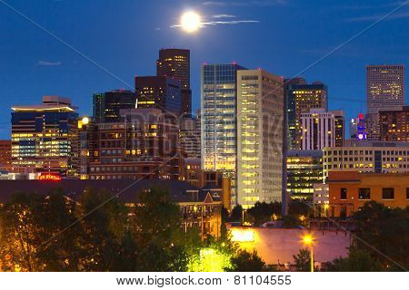 Full Moon Rising Above Denver