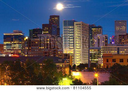 Full Moon Rising Above Denver