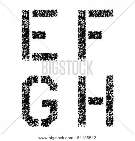 vector stencil angular spray font letters E F G H