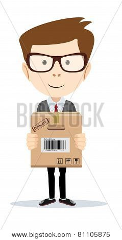 portrait of delivery man isolated on white background