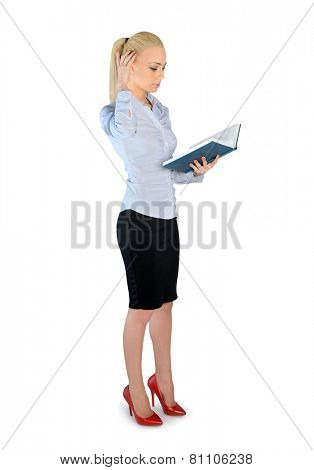 Isolated business woman reading book