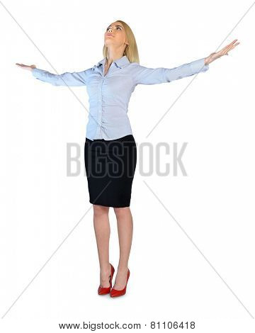 Isolated business woman with arms up