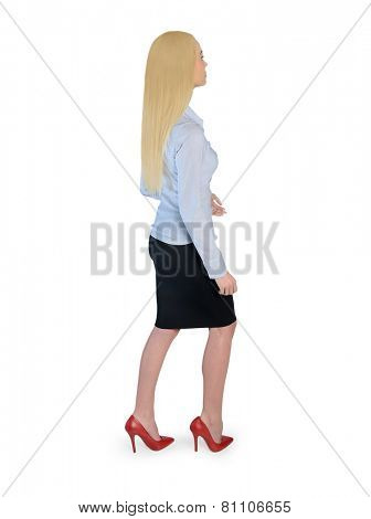 Isolated business woman walking side