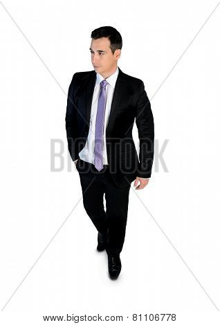 Isolated business man walk looking side