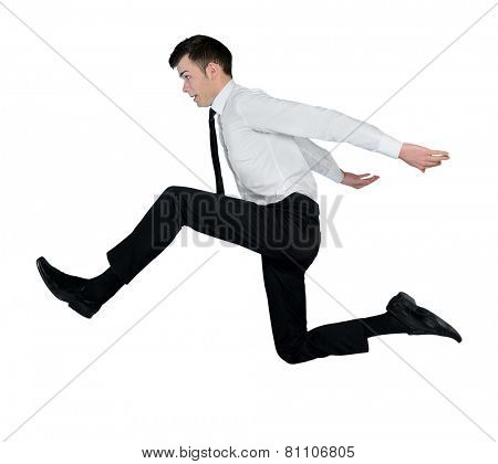 Isolated business man big jump