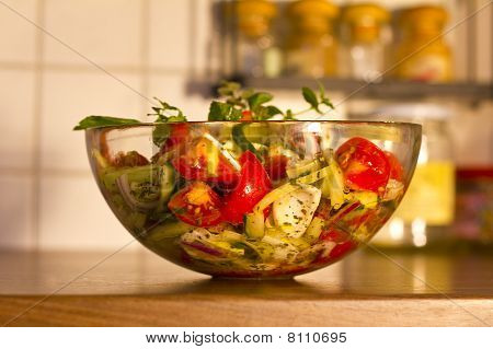 Salad In Glass Dish In The Kitchen